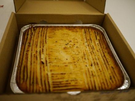 Golden crust of mashed potato